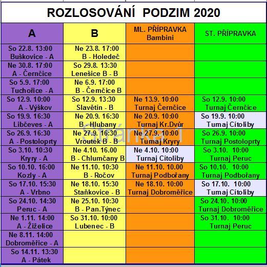 ROZPIS PODZIM 20