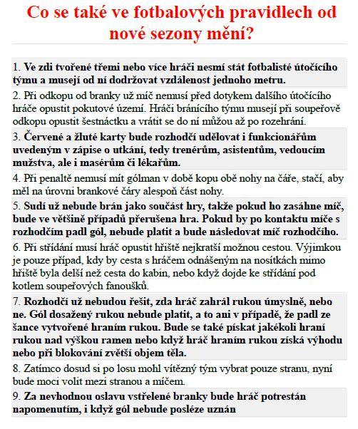 změny pravidel fotbalu od 1.7.19